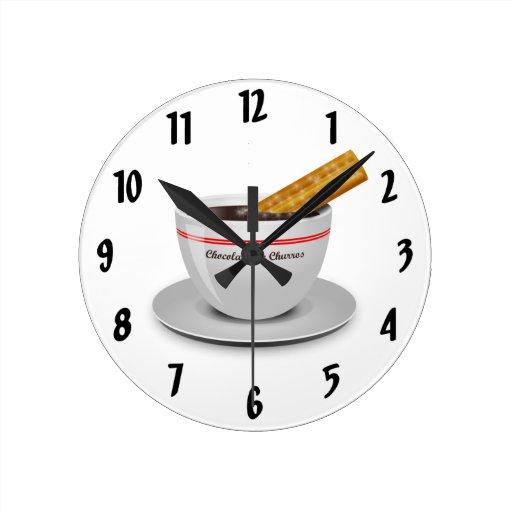 Estafa Churro del chocolate Relojes De Pared