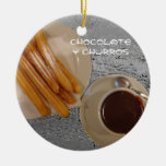 Estafa Churros de Caliente del chocolate Adorno Navideño Redondo De Cerámica