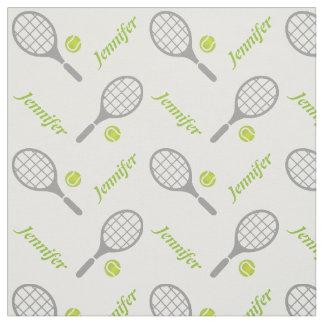 Estafa de tenis, bola y su nombre personalizados telas