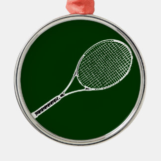 estafa de tenis adorno redondo plateado