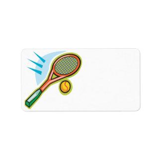 Estafa de tenis etiquetas de dirección