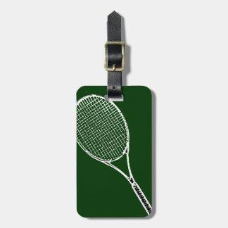 estafa de tenis etiquetas de equipaje