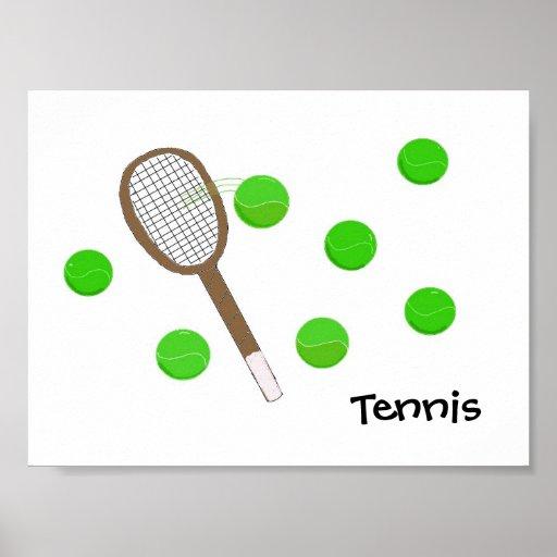 Estafa de tenis y pelotas de tenis impresiones