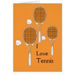 Estafa de tenis y tarjeta de la bola