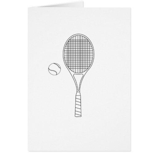 Estafa de tenis y tarjeta del esquema de la bola