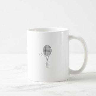 Estafa de tenis y taza del esquema de la bola