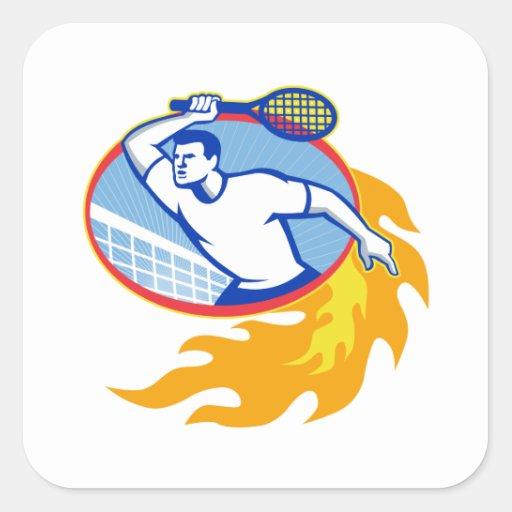 Estafa del jugador de tenis retra pegatina cuadrada