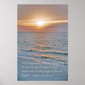 Estafa Puesta del Sol del 102:13 de Salmos Póster