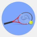 Estafa y bola de tenis pegatina redonda