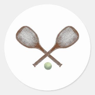 estafa y bola del vintage del tenis etiquetas redondas