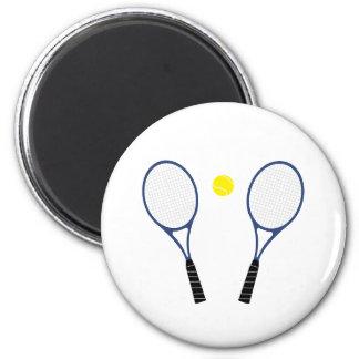 Estafas de tenis e imán azules de la bola