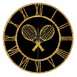 Estafas de tenis en oro reloj redondo grande