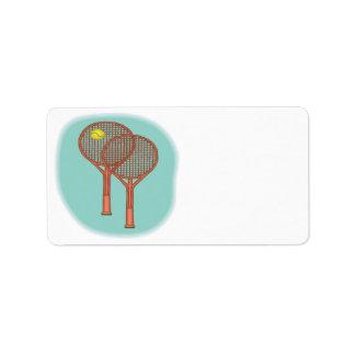 Estafas de tenis etiquetas de dirección