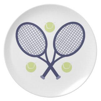 Estafas de tenis plato de comida
