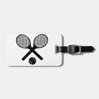 Estafas de tenis y pelota de tenis etiqueta de equipaje