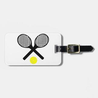 Estafas de tenis y pelota de tenis etiquetas para maletas