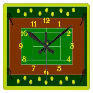 Estafas del campo de tenis y de tenis reloj cuadrado