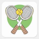 Estafas y bola de tenis pegatinas cuadradas