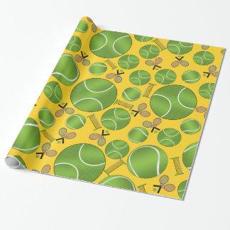 Estafas y redes amarillas de las pelotas de tenis papel de regalo
