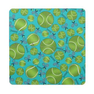 Estafas y redes de las pelotas de tenis de la posavasos de puzzle