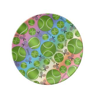 Estafas y redes de las pelotas de tenis del arco platos de cerámica