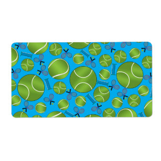 Estafas y redes de las pelotas de tenis del azul etiqueta de envío