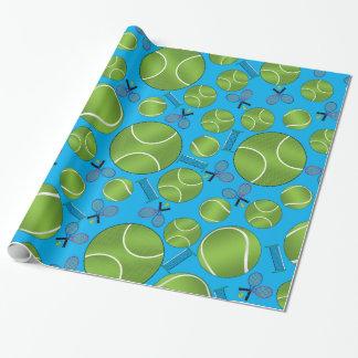 Estafas y redes de las pelotas de tenis del azul papel de regalo