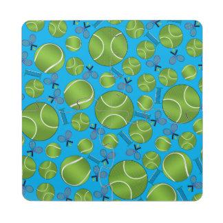 Estafas y redes de las pelotas de tenis del azul posavasos de puzzle