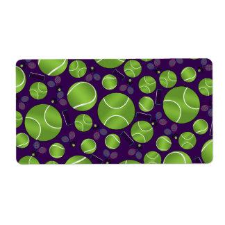 Estafas y redes púrpuras de las pelotas de tenis etiquetas de envío