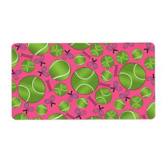 Estafas y redes rosadas de las pelotas de tenis etiqueta de envío