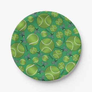 Estafas y redes verdes de las pelotas de tenis plato de papel de 7 pulgadas