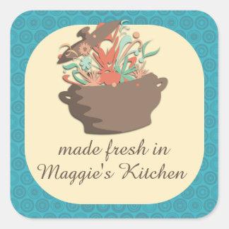 Estallar los aromas que cocinan la tarjeta del pegatina cuadrada