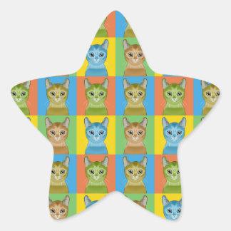 Estallido-Arte abisinio del gato Calcomanía Forma De Estrellae