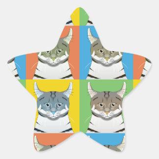 Estallido-Arte americano del gato del rizo Colcomanias Forma De Estrella