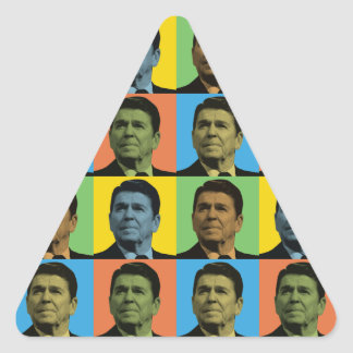 Estallido-Arte de Ronald Reagan Calcomanías De Triangulos Personalizadas