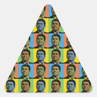 Estallido-Arte de Ronald Reagan Calcomanías Trianguloes Personalizadas