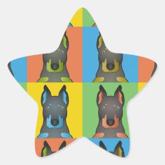Estallido-Arte del dibujo animado de Beauceron Pegatinas Forma De Estrella Personalizadas