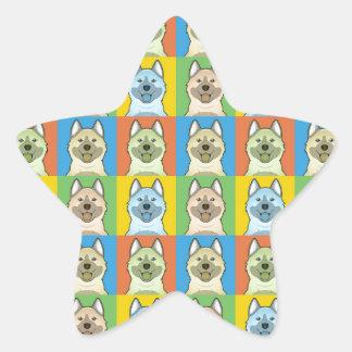 Estallido-Arte del dibujo animado de Elkhound del Colcomanias Forma De Estrella