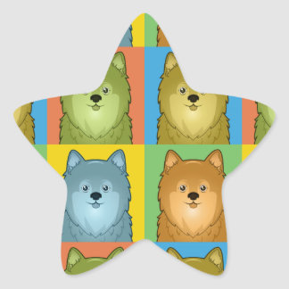 Estallido-Arte del dibujo animado de Pomeranian Calcomanía Cuadrada Personalizada