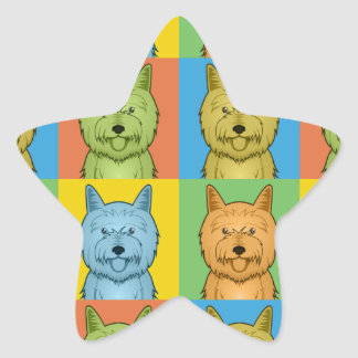 Estallido-Arte del dibujo animado de Terrier de Colcomanias Forma De Estrella