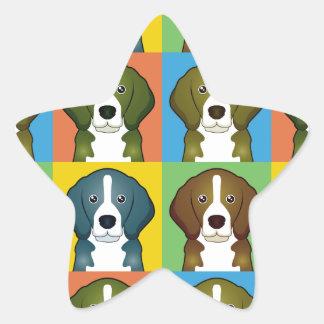 Estallido-Arte del dibujo animado del beagle Pegatinas Forma De Estrella Personalizadas