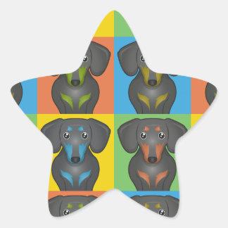 Estallido-Arte del dibujo animado del Dachshund Colcomanias Forma De Estrellaes Personalizadas
