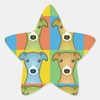 Estallido-Arte del dibujo animado del galgo Pegatina Forma De Estrella Personalizadas