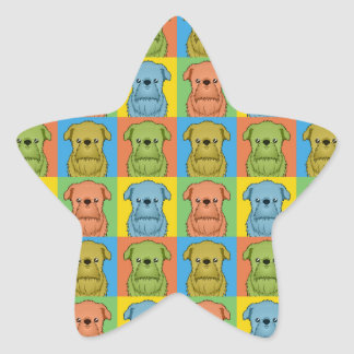 Estallido-Arte del dibujo animado del perro de Pegatina Forma De Estrella