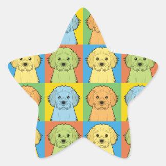 Estallido-Arte del dibujo animado del perro de Calcomanías Forma De Estrellas