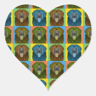 Estallido-Arte del dibujo animado del perro de Pegatinas Corazon Personalizadas