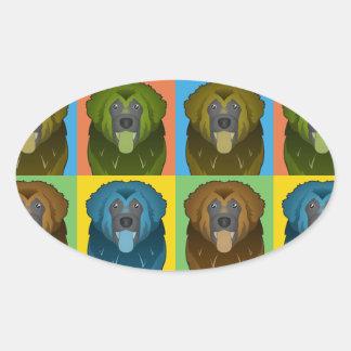 Estallido-Arte del dibujo animado del perro de Pegatina De Óval