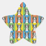 Estallido-Arte del dibujo animado del perro de Pegatina En Forma De Estrella