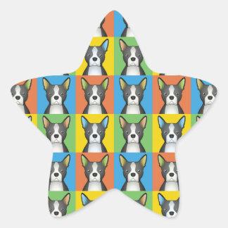 Estallido-Arte del dibujo animado del perro de Pegatina Forma De Estrella Personalizada