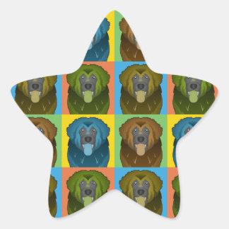 Estallido-Arte del dibujo animado del perro de Colcomanias Forma De Estrellas